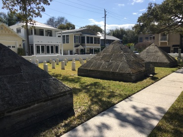 These pyramids represent American soldiers who died during the Second Seminole War.